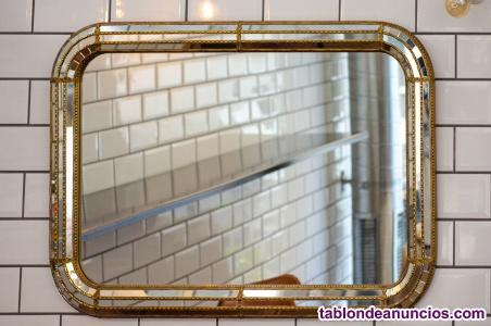 Espejo vintage marco en metal y cristal