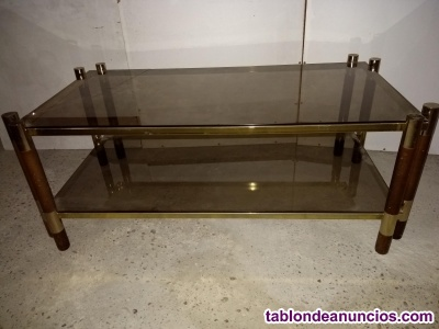 Mesa de centro metal, madera y cristal