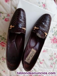 Zapatos de piel de serpiente autentica