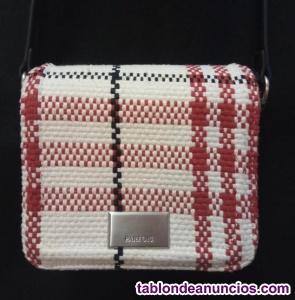 Bolso parfois pequeño tweed blanco, negro y rojo