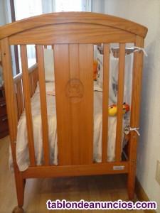 Vendo cuna madera bebé y regalo colchón