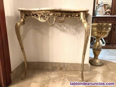 Mesa de pared de bronce y mármol