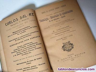 1912 MANUAL DEL AJUSTADOR TORNERO Y FORJADOR Tomo II Tecnología, Materiales de c