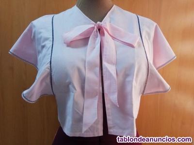 Antigua mañanita peinador popelín rosa adorno vainica bordada azul 40's