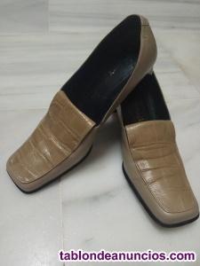 Zapatos mujer piel beige vintage 70-80's. T. 38.
