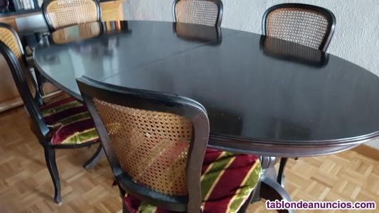 Mesa de madera ovalada + 6 sillas