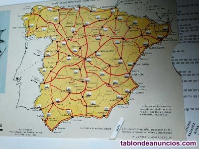 Mapa de las principales carreteras de españa distancia entre capitales años 70 u