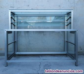 Mostrador expositor aluminio y cristal 165cm