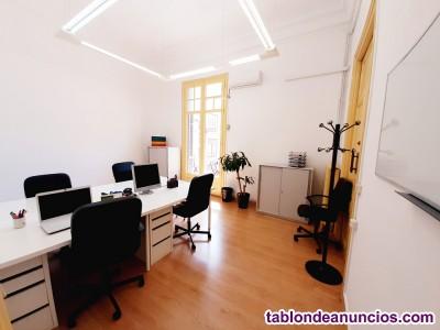 Alquiler oficina, 14m2, 1/3pax, ventana, acceso 24h/7d, equipado