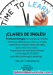 Clases de inglés presencial/online