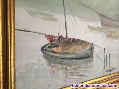 Cuadro. Barcas en remanso.