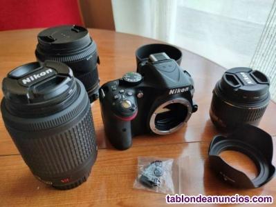Equipo Nikon 5200 D con objetivos 18/55, 55/200 y 18/250 macro