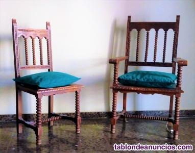 Vendo silla y sillón de madera maciza tallada