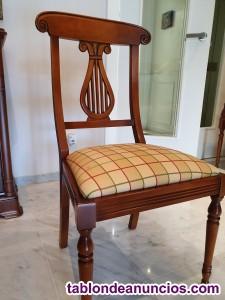 4 sillas y 2 butacas en cerezo