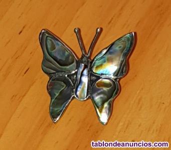 Broche Mariposa de Nácar y plata