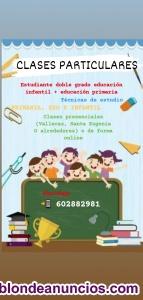 Estudiante de Eduación infantil y educación primaria se ofrece para dar clases