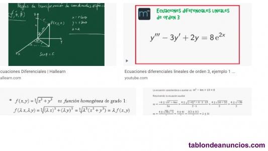 Clases de matemáticas ingeniería  por videoconferencia