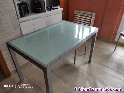 Mesa de cocina de vidrio y acero