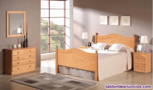 Dormitorio macizo con cama de matrimonio nuevo de fabrica