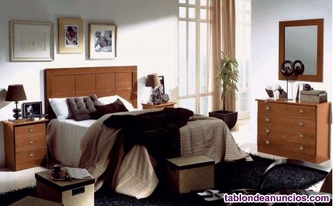 Dormitorio macizo en color nogal nuevo de fabrica