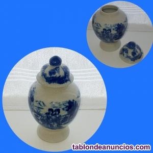 Jarrón de porcelana portuguesa craquelada