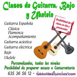 Clases particulares de guitarra, bajo y ukelele