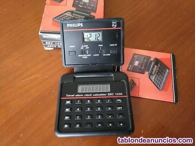 Philips sbc 1434 calculadora reloj alarma plegable, en su caja con instrucciones
