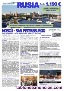 RUSIA 2021, Oferta Semana Santa, Moscú/San Petersburgo 8 días/7 noches en MP