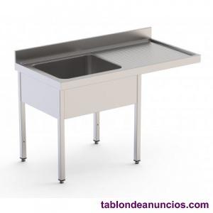 Fregadero industrial para lavavajillas acero inoxidable de 1200x700x850h mm con