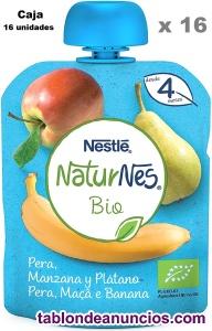 16 UNIDADES Nestlé Naturnes Bio Bolsita de puré de Pera, Manzana y Plátano