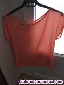 Falda elástica, camiseta palabra de honor,  camiseta tirantes y blusa