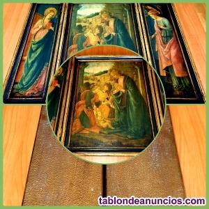 Triptico de forma cuadrada rectangular de óleo sobre tabla