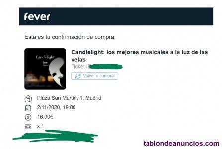 Cambio entrada Candlelight Musicales 2 de noviembre Madrid