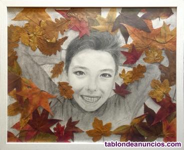 Retrato otoñal a carboncillo con hojas naturales. Original y decorativo.