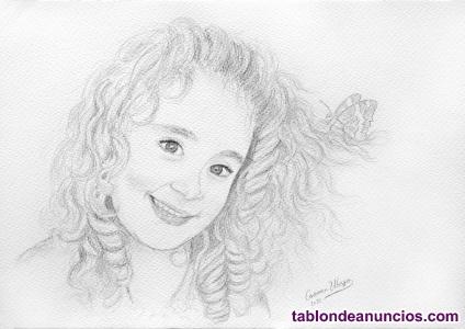 Retratos de niños a lápiz en blanco y negro