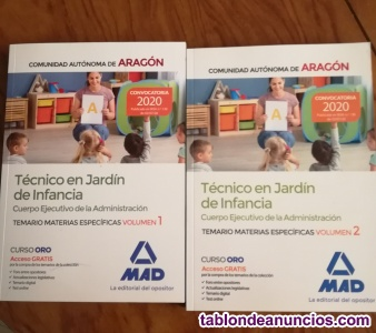 Vendo temario Técnico Jardín de Infancia Aragón 2020