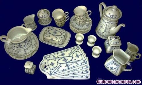 Vajilla de porcelana alemana marienbad blau weiss