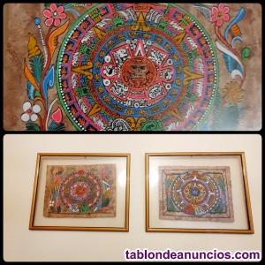 Pareja de cuadros pergamino original Mexicano