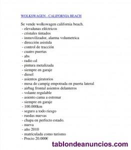 Vendo volkswagen california beach  ( camper )