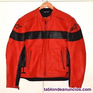 Cazadora de moto alpinestar cuero de vaca autentica roja y negra con forro extra