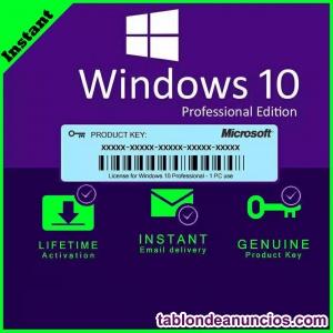 Licencia Windows 10 Pro Retail Clave 32/64 Bits