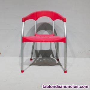 Silla terraza aluminio y plástico roja
