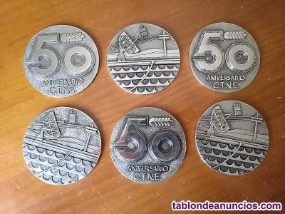 6 medallones medallas conmemorativas 50 aniversario c.t.n.e. Compañía telefonica