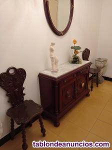 Mueble Taquillon con espejo y dos sillas