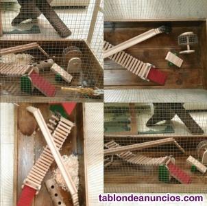 Jaula grande de madera artesanal para hamster, jerbo... Con casa árbol,