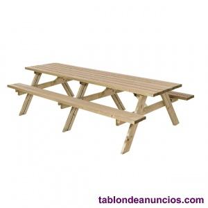 Mesa con bancos para jardín para 10 personas