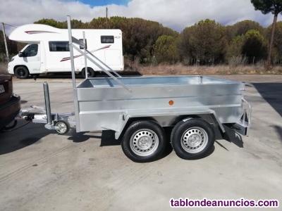 Remolque 2 ejes galvanizado caja fija ruedas por fuera