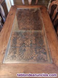 Mesa comedor rigida pino americano y filigrana hecha a mano.muebles artesanales