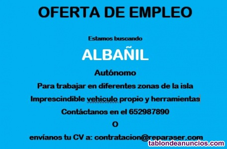 Empresa de servicios busca ALBAÑIL Autónomo