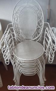 Mesa y sillas de forja jardin color blanco